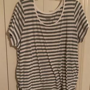 Lane Bryant Gray & White Stripped Top